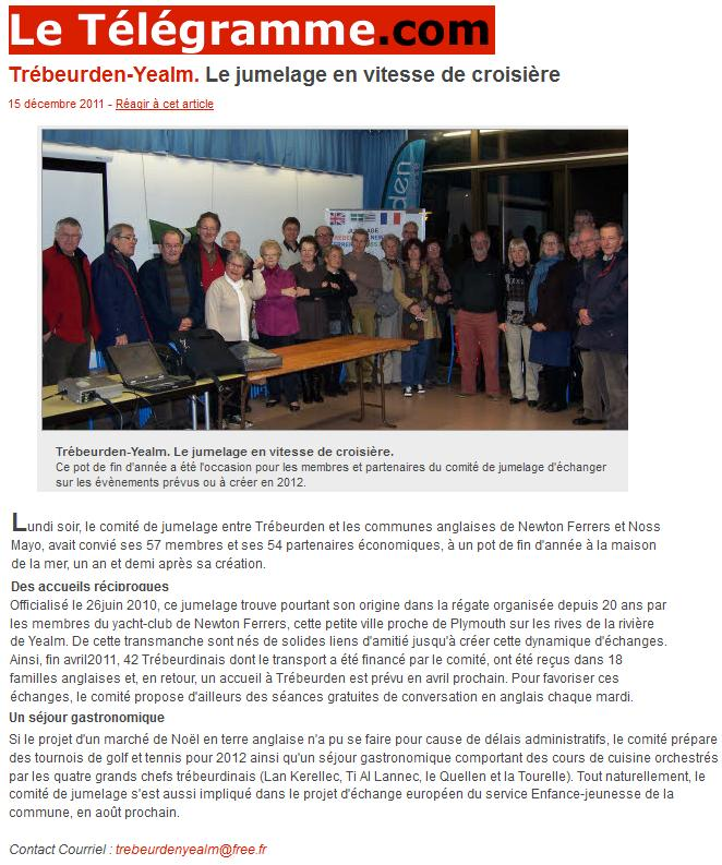 Le télégramme 15 decembre 2011 jumelage pot de fin d'année