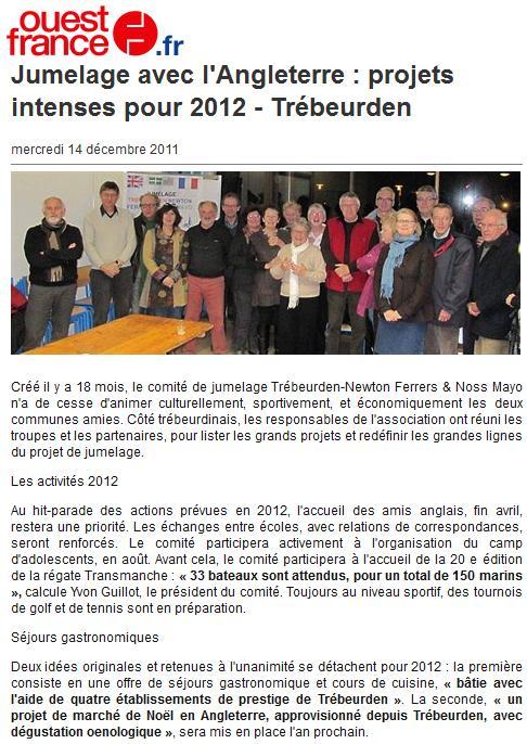 Ouest france 14 decembre jumelage Trébeurden pot de fin d'année